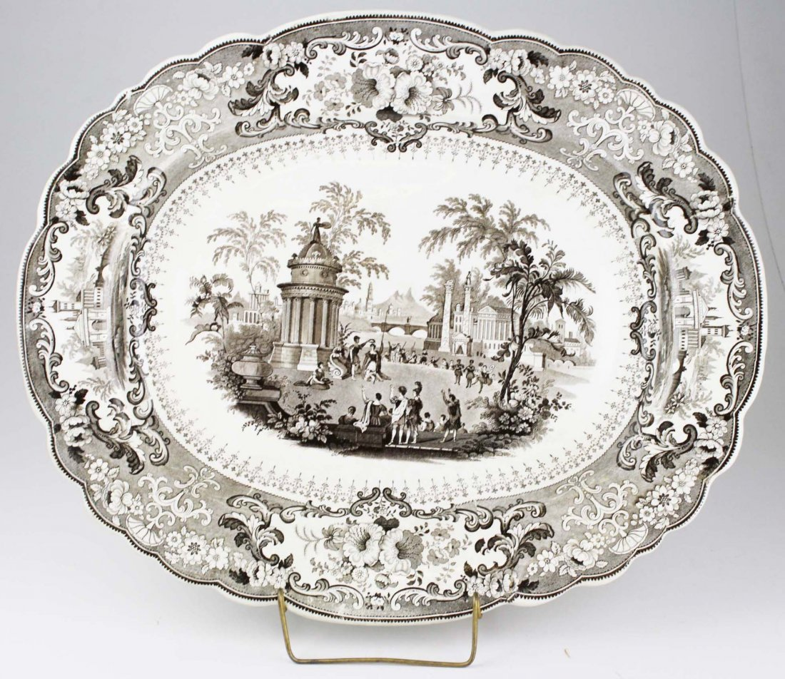 19th brown scenic transferware porcelain platter by T.