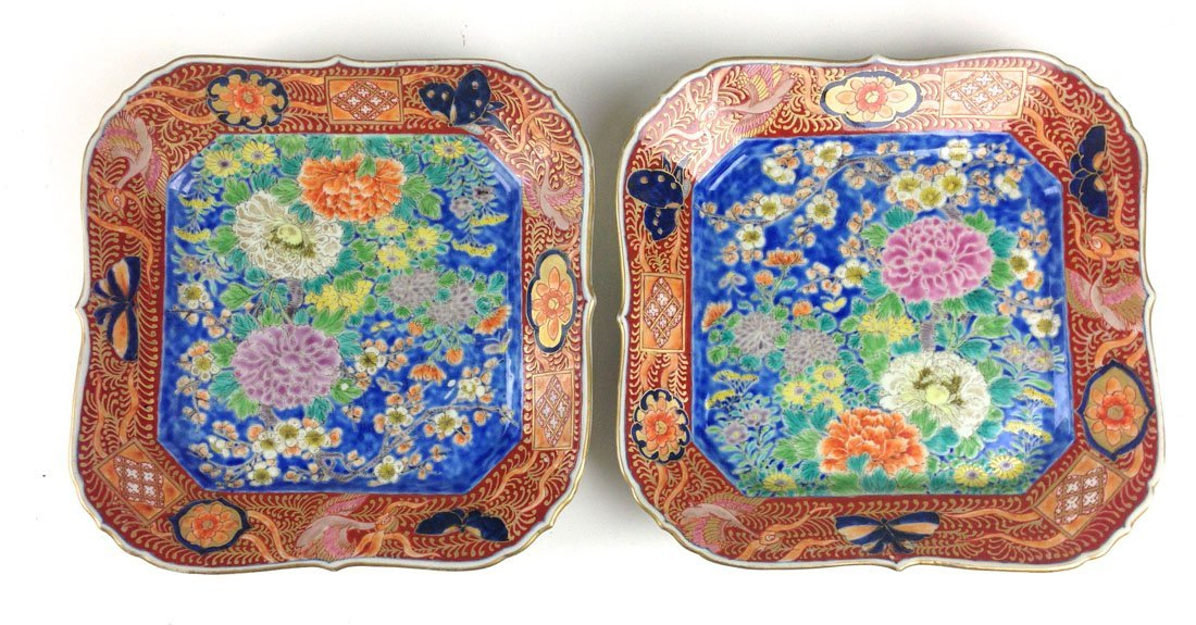 Pair of Chinese Qing Dynasty porcelain enamel square