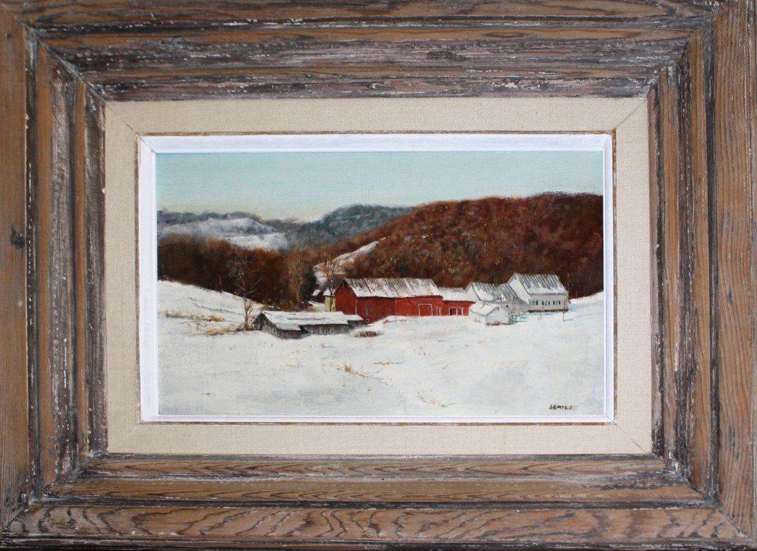 John P Semple (VT 1930-) Vt Farmyard oil on masonite