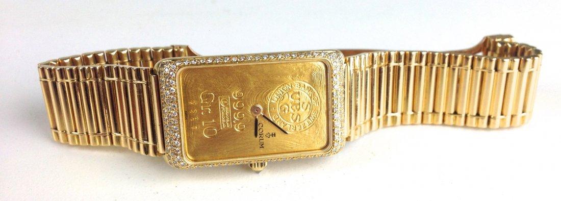 18k yellow gold Corum ladies wristwatch UBS (Union Bank