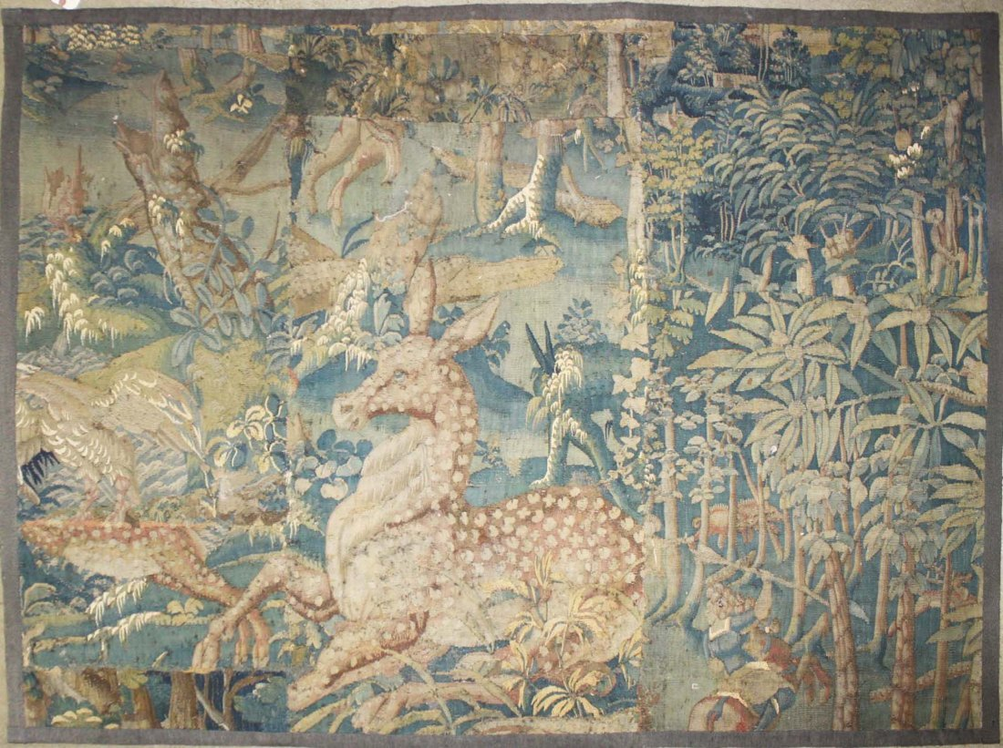 17th c Flemish verdure pieced tapestry fragment with a