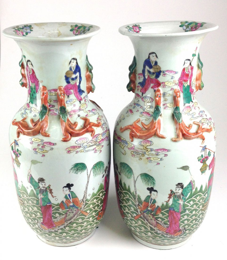 Pair of Chinese ca. 1800 porcelain vases with molded