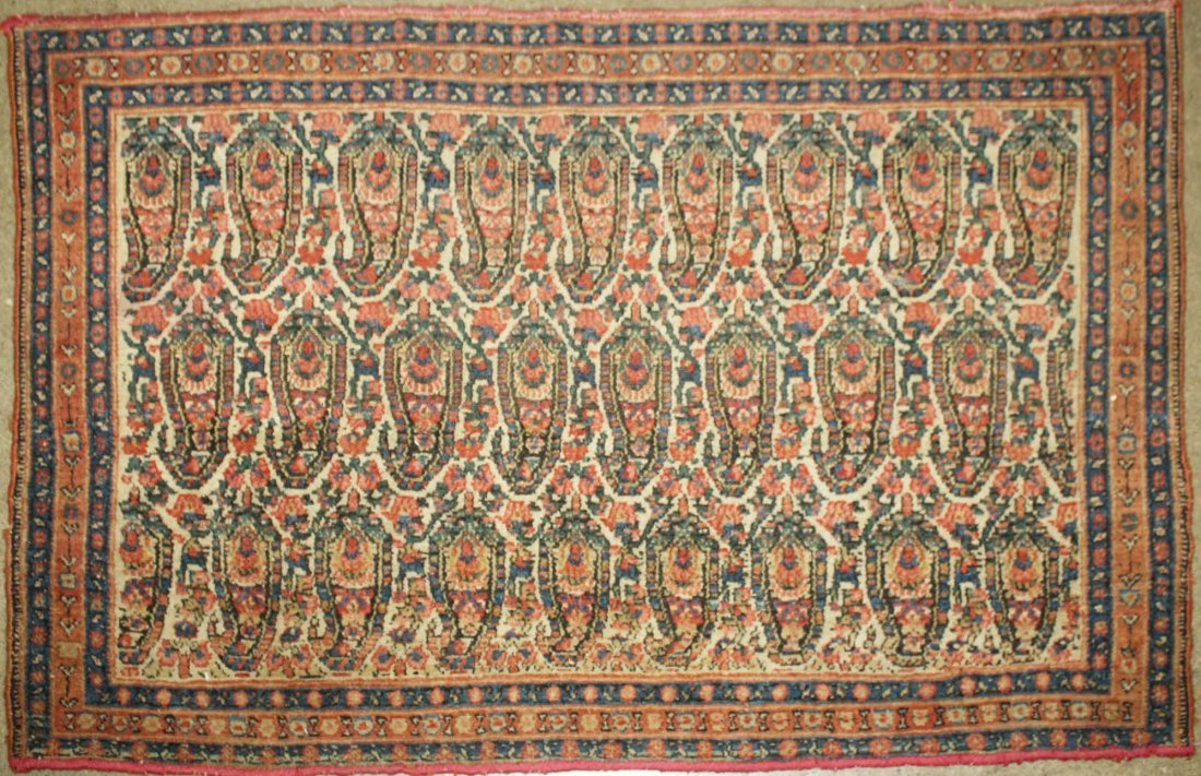 early 20th c Persian bag face with three rows of nine