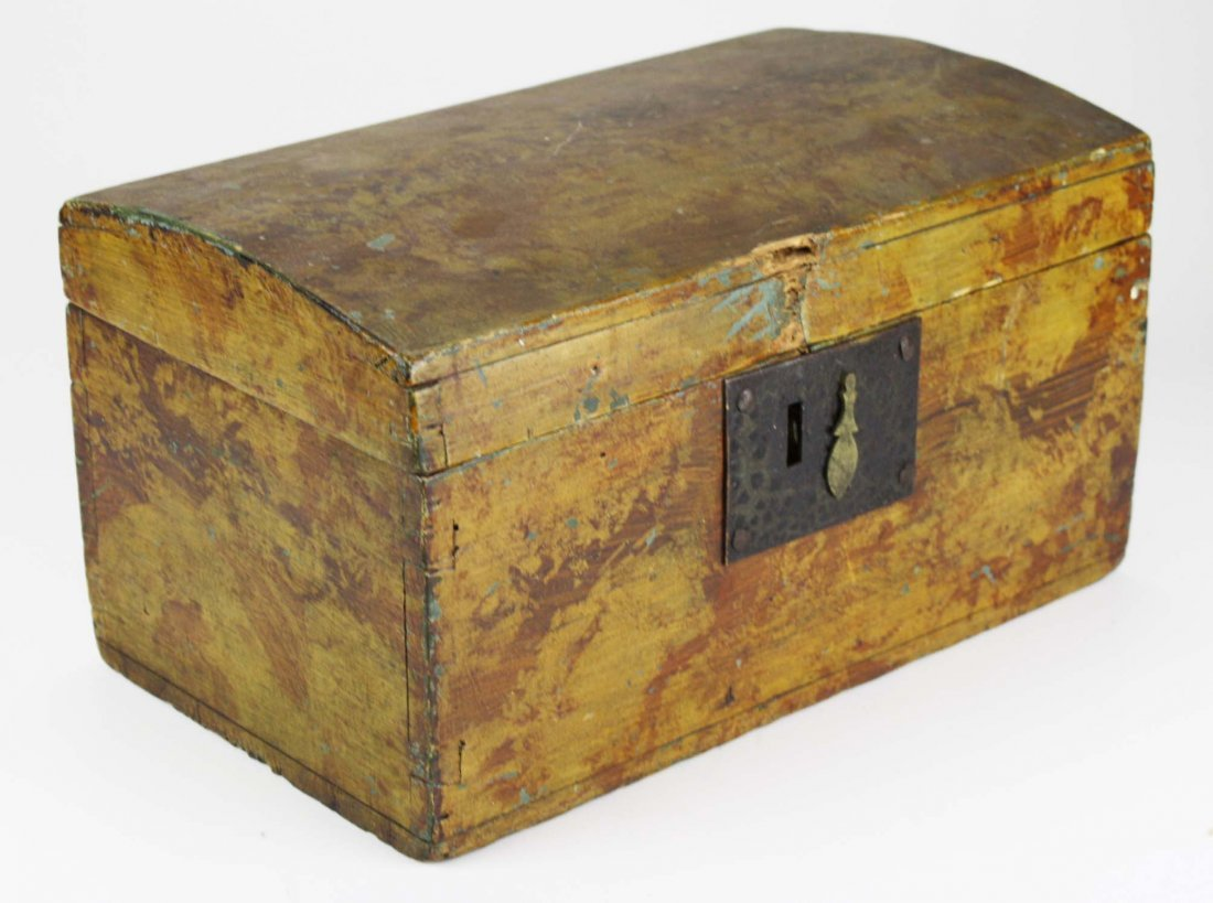 early 19th c dome top box w/ sponge painted decoration, - 2