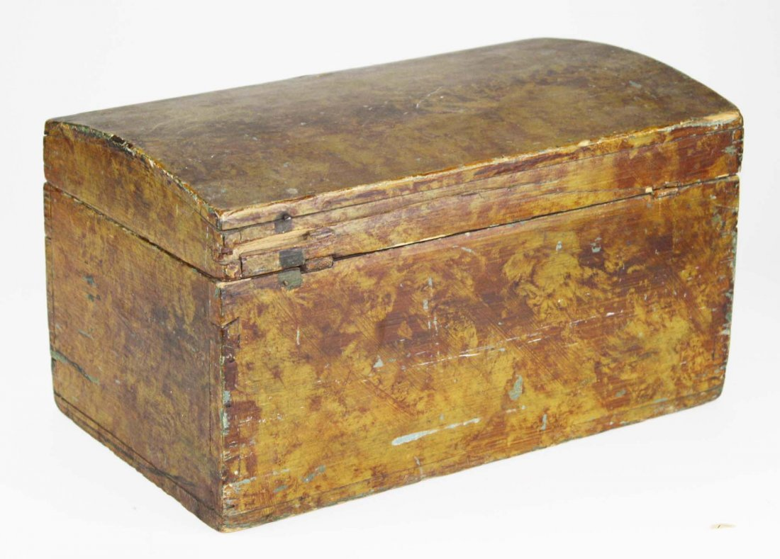 early 19th c dome top box w/ sponge painted decoration, - 3