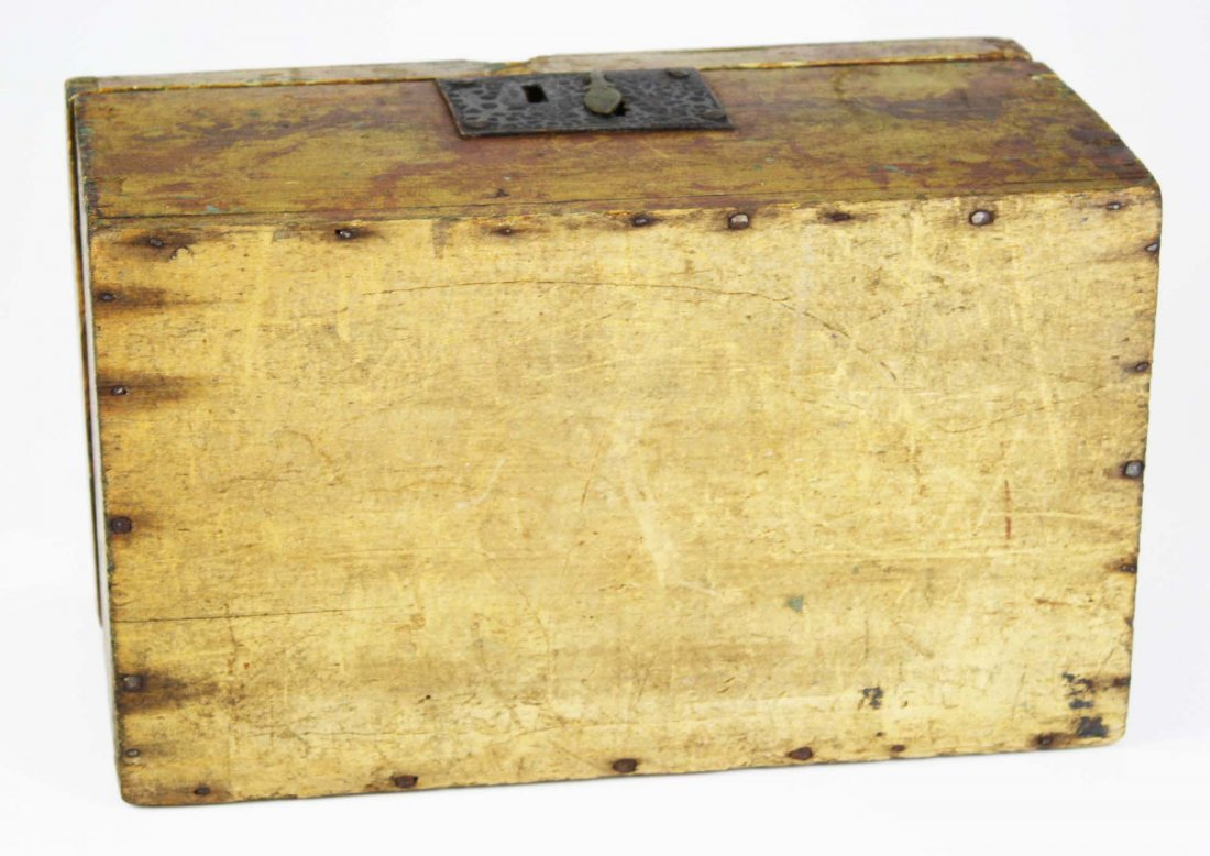 early 19th c dome top box w/ sponge painted decoration, - 4