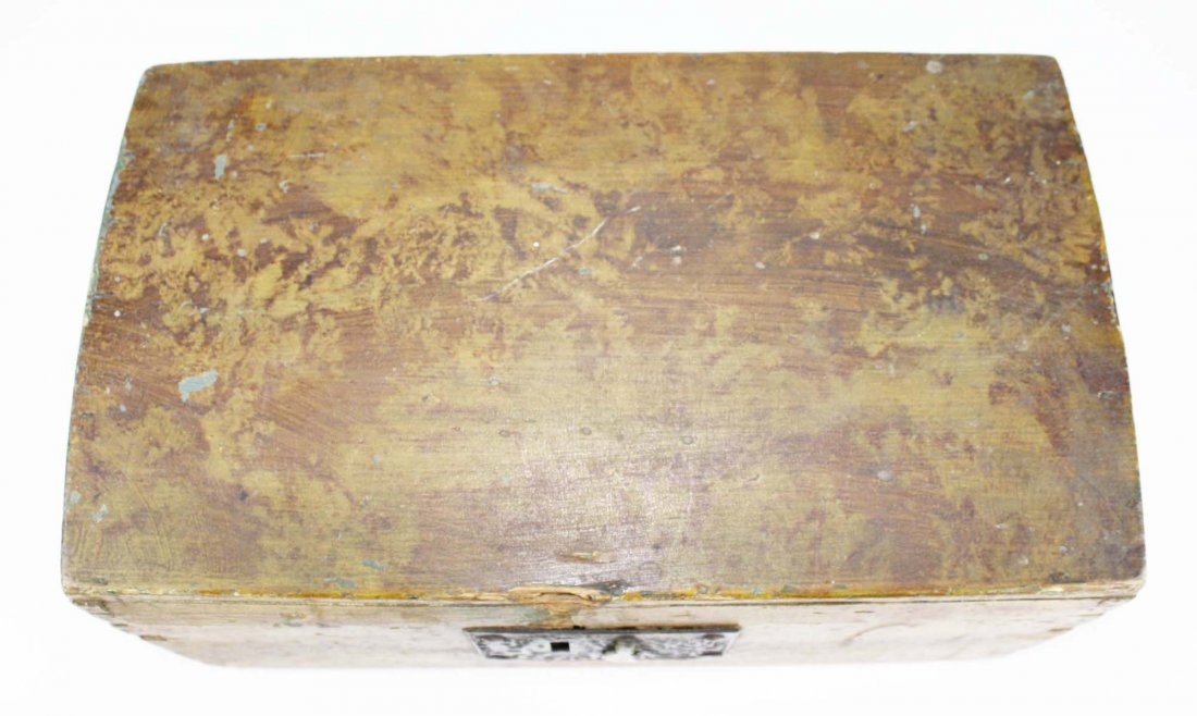 early 19th c dome top box w/ sponge painted decoration, - 6
