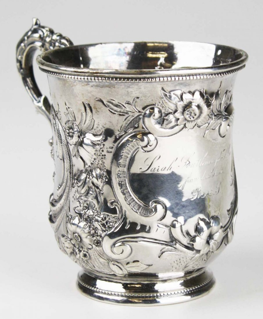 Hand chased sterling silver presentation mug with