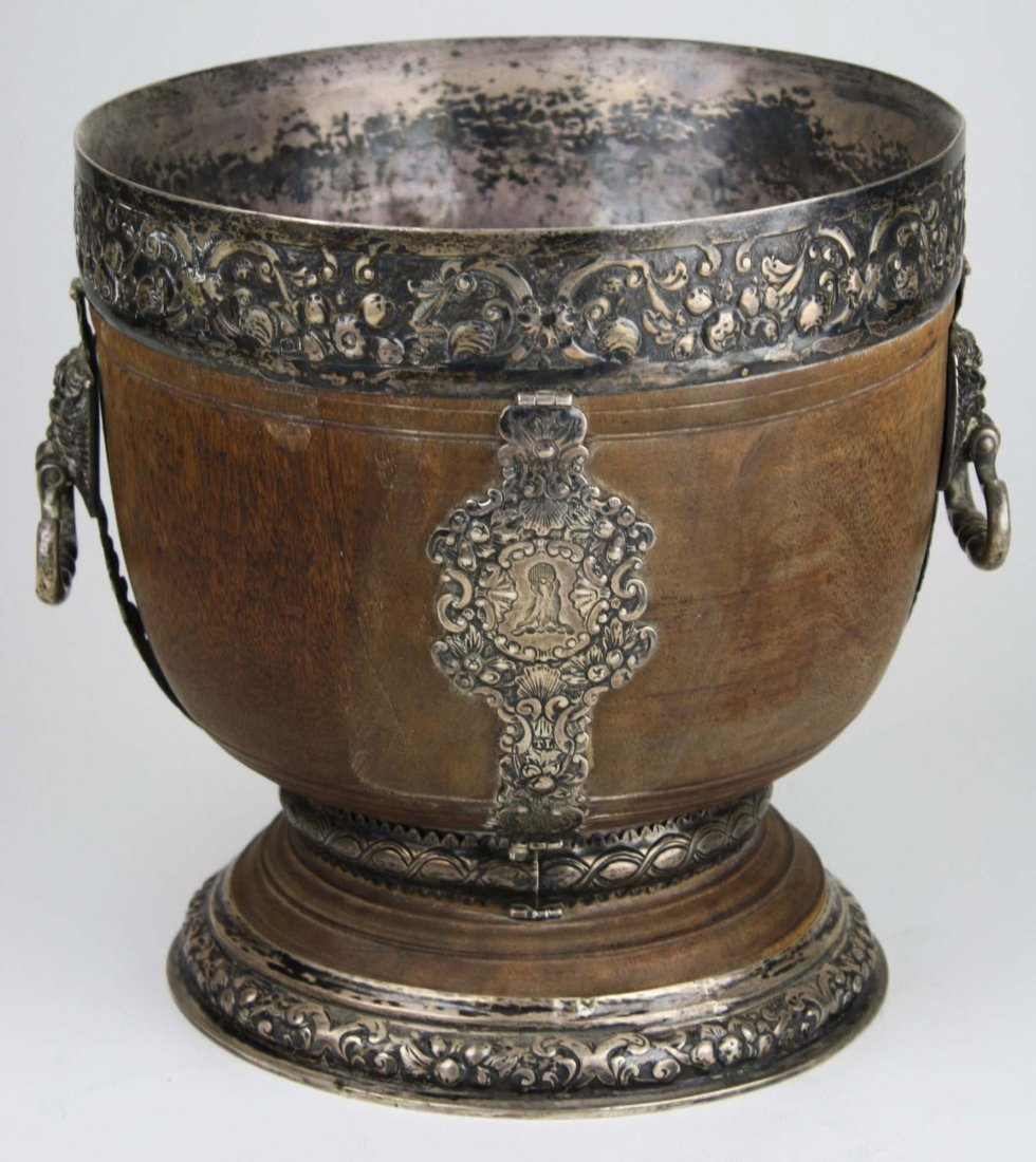 extremely rare 17th c English silver mounted lignum