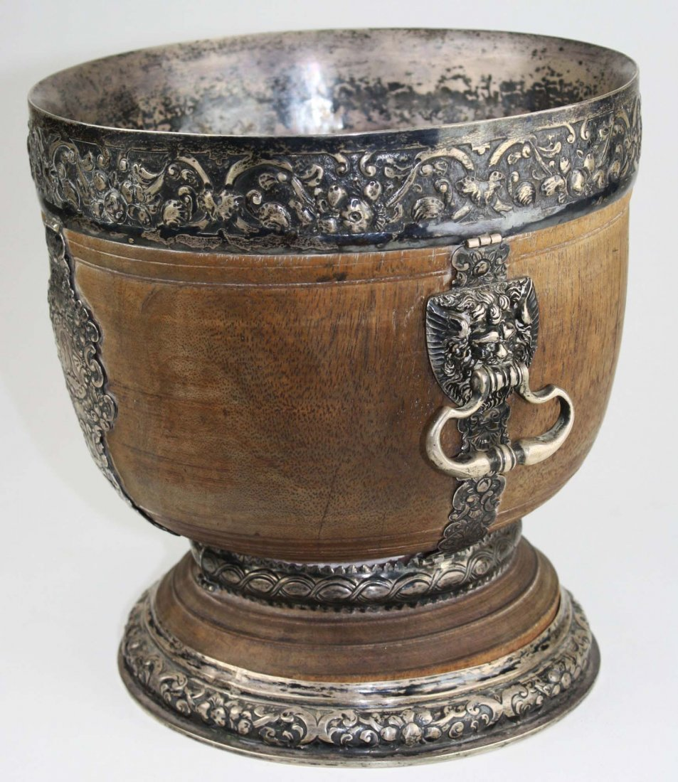 extremely rare 17th c English silver mounted lignum - 2