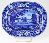 19th c. Deep Blue transfer dec Staffordshire porcelain