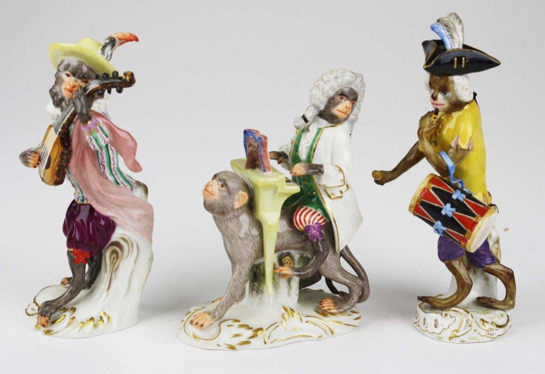 Three 19th c. Meissen porcelain monkey musician