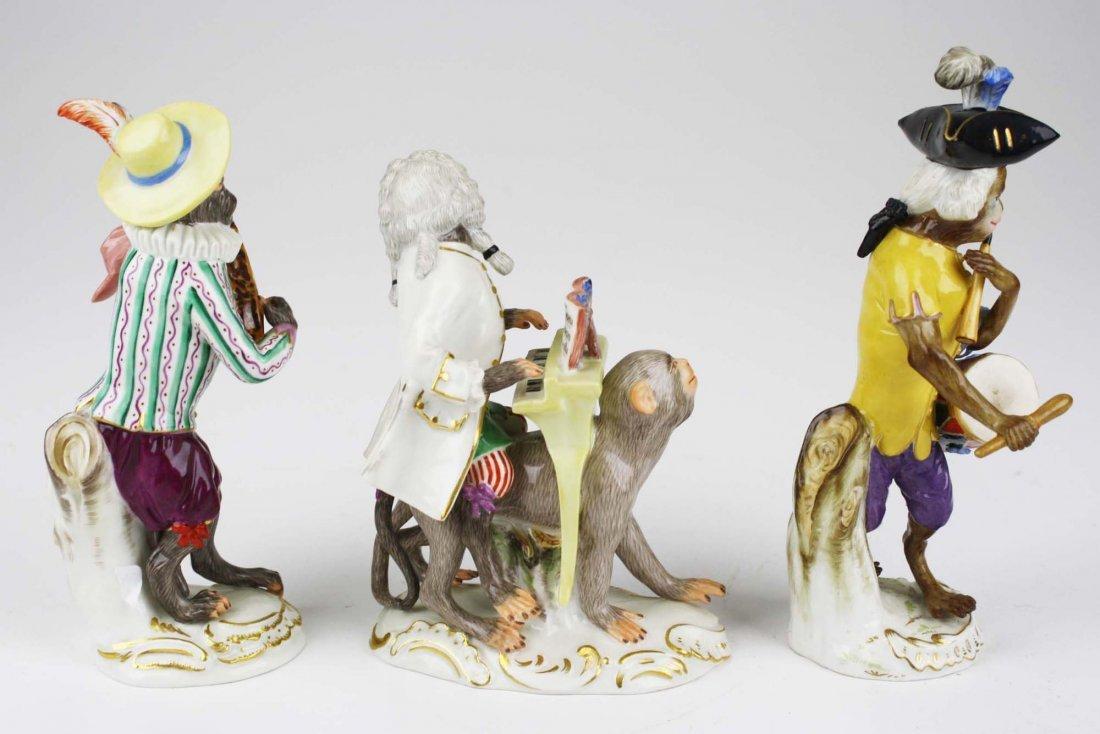 Three 19th c. Meissen porcelain monkey musician - 3