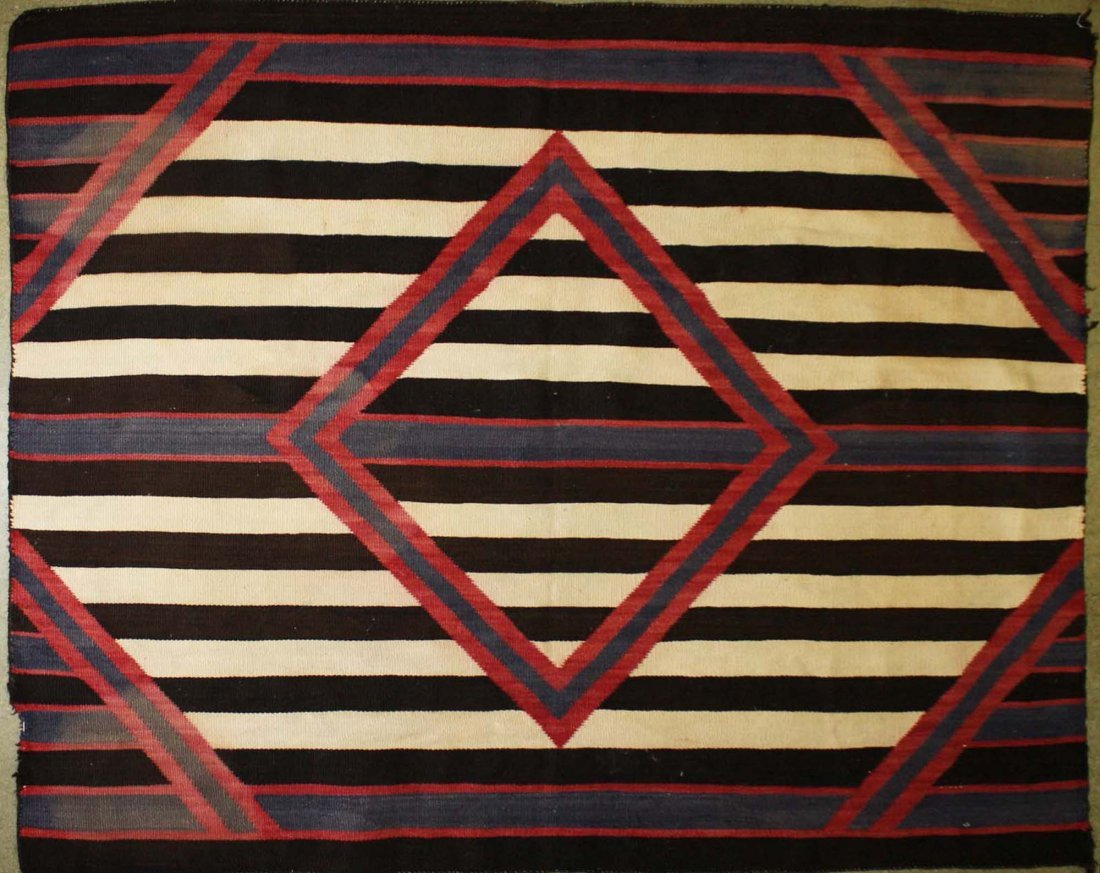 "ca 1890 Navajo Second Phase Chief's blanket, 4' 2"" x 5'"