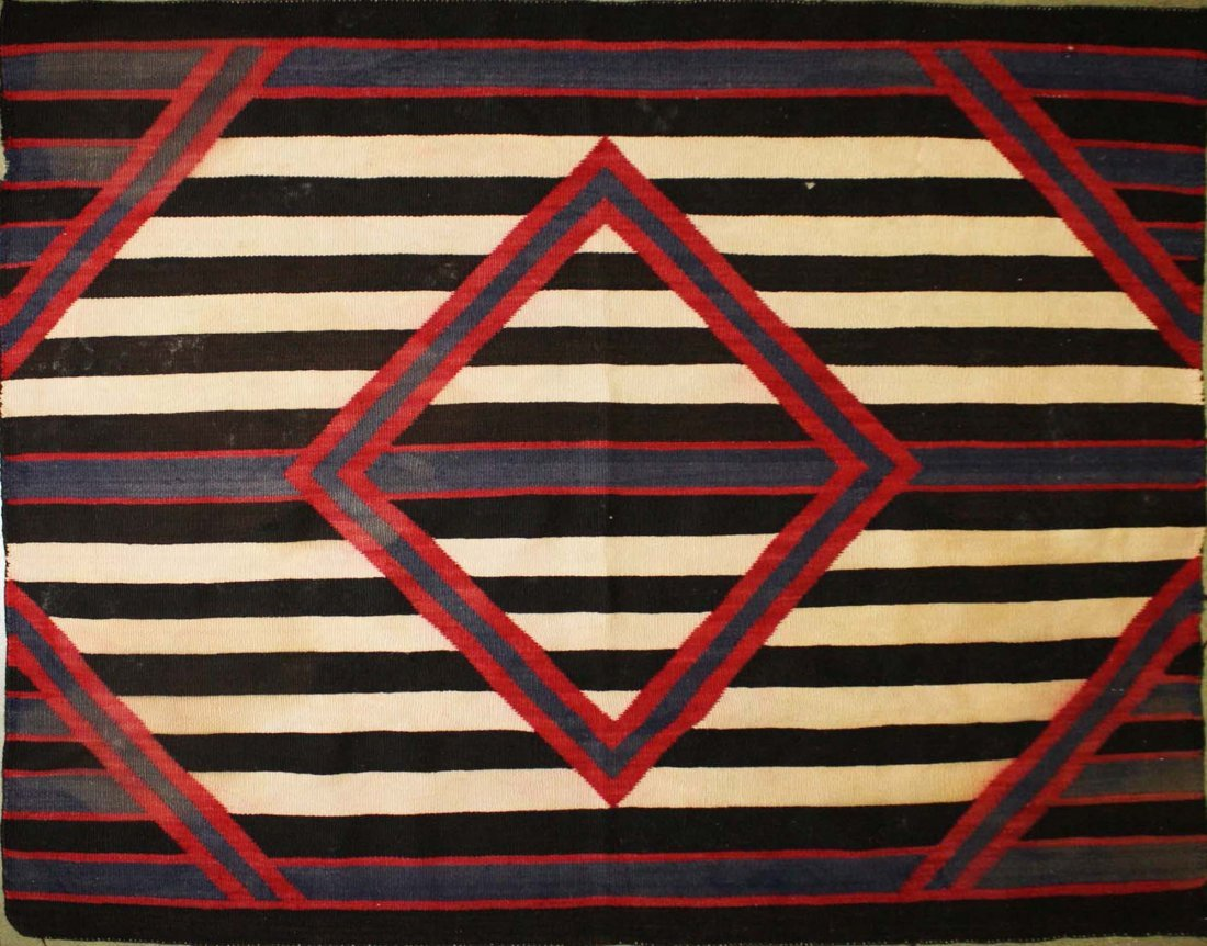 "ca 1890 Navajo Second Phase Chief's blanket, 4' 2"" x 5' - 2"
