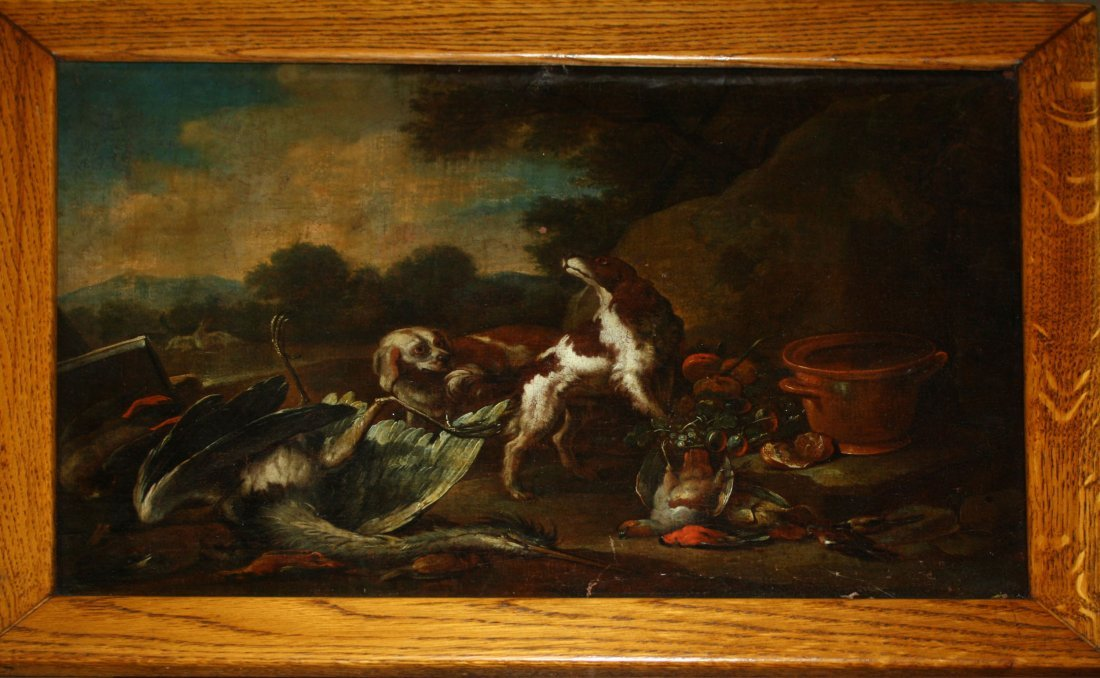 18th c European School hunting scene of setters with