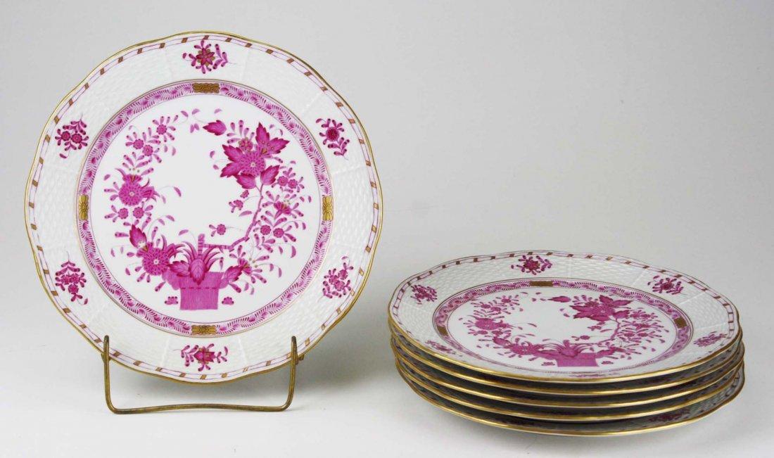 set of 6 Herend raspberry Indian Basket porcelain