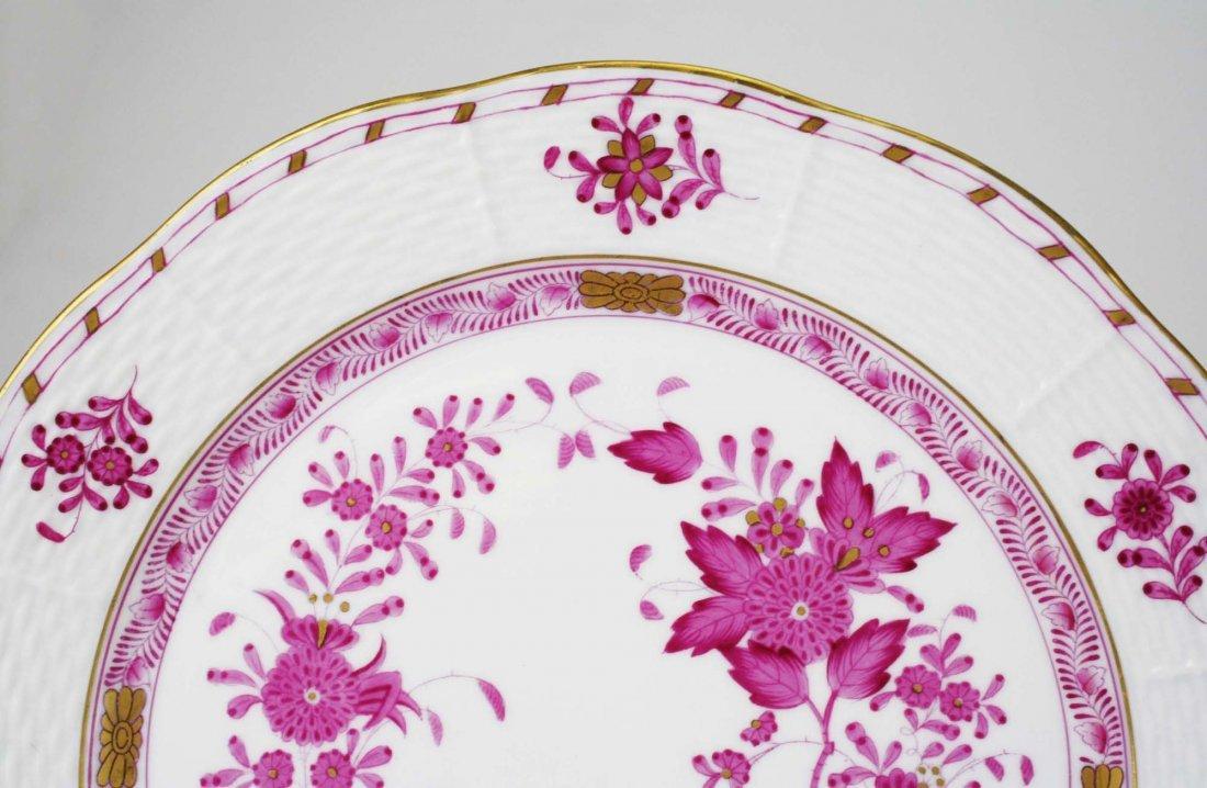 set of 6 Herend raspberry Indian Basket porcelain - 2