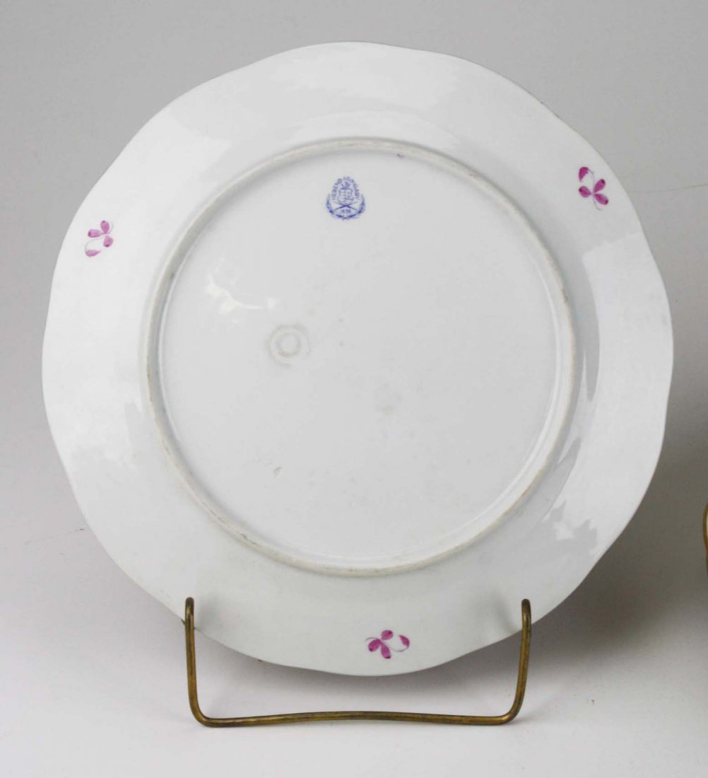 set of 6 Herend raspberry Indian Basket porcelain - 3