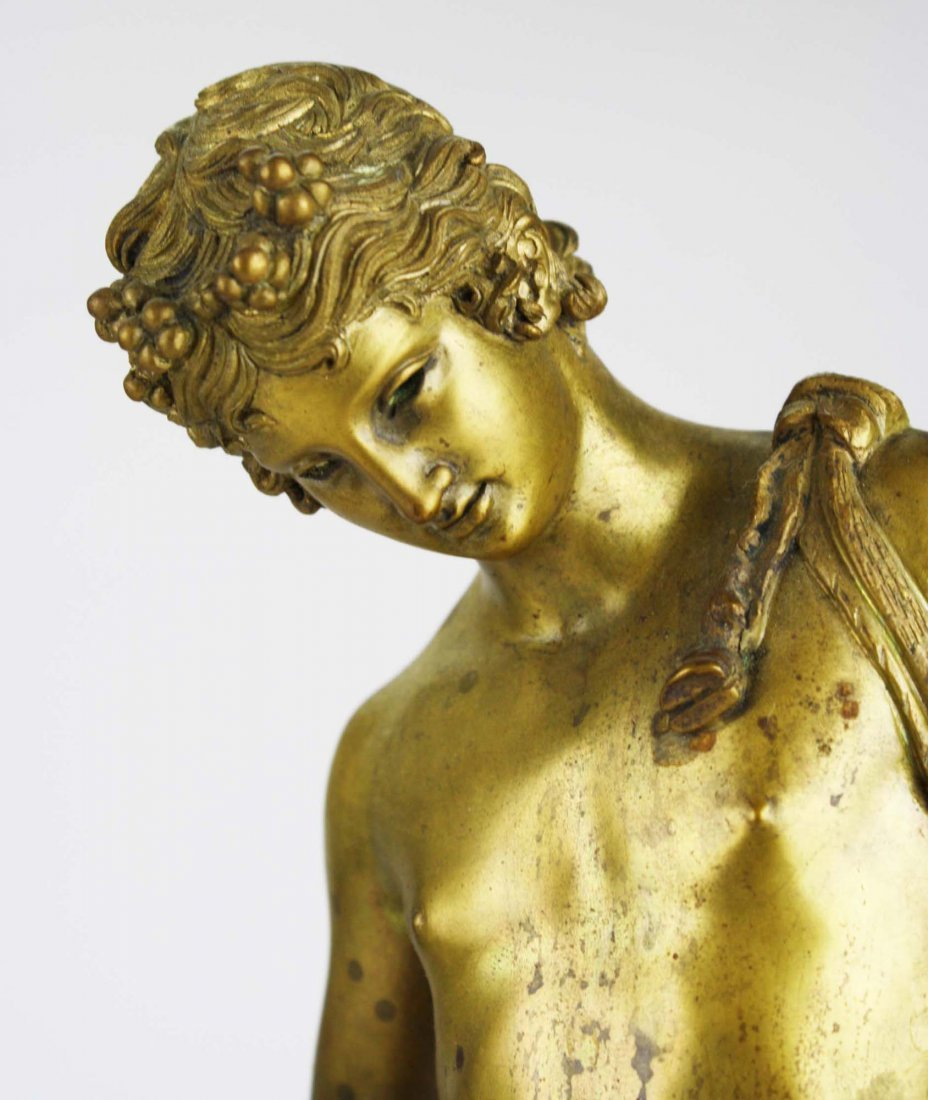 late 19th c cast bronze figure of Narcissus cast by the - 7