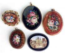 lot of 5  19th c micromosaic oval brooches incl four