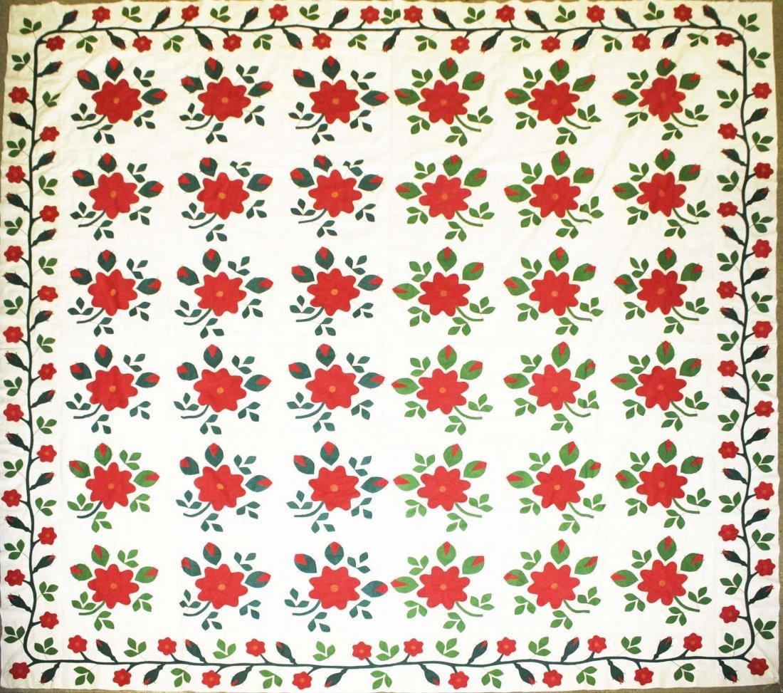 mid 19th c applique quilt top, flower & vine pattern,