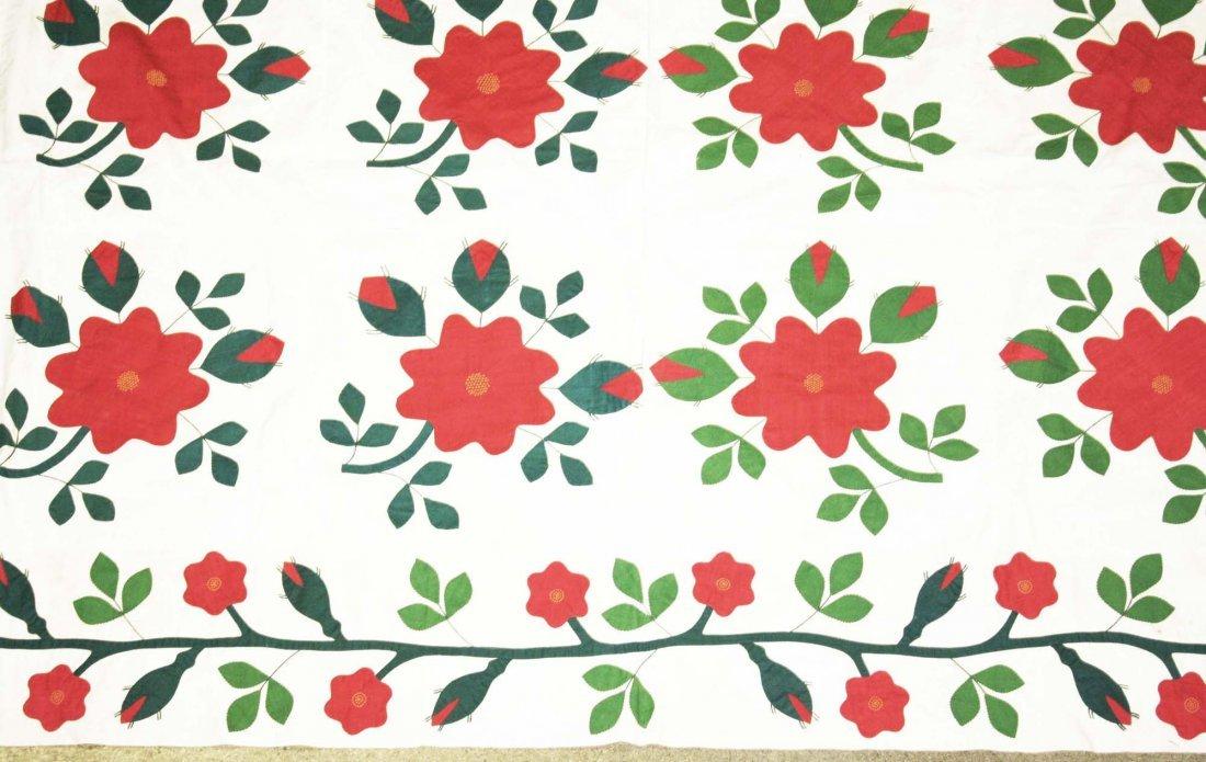 mid 19th c applique quilt top, flower & vine pattern, - 3