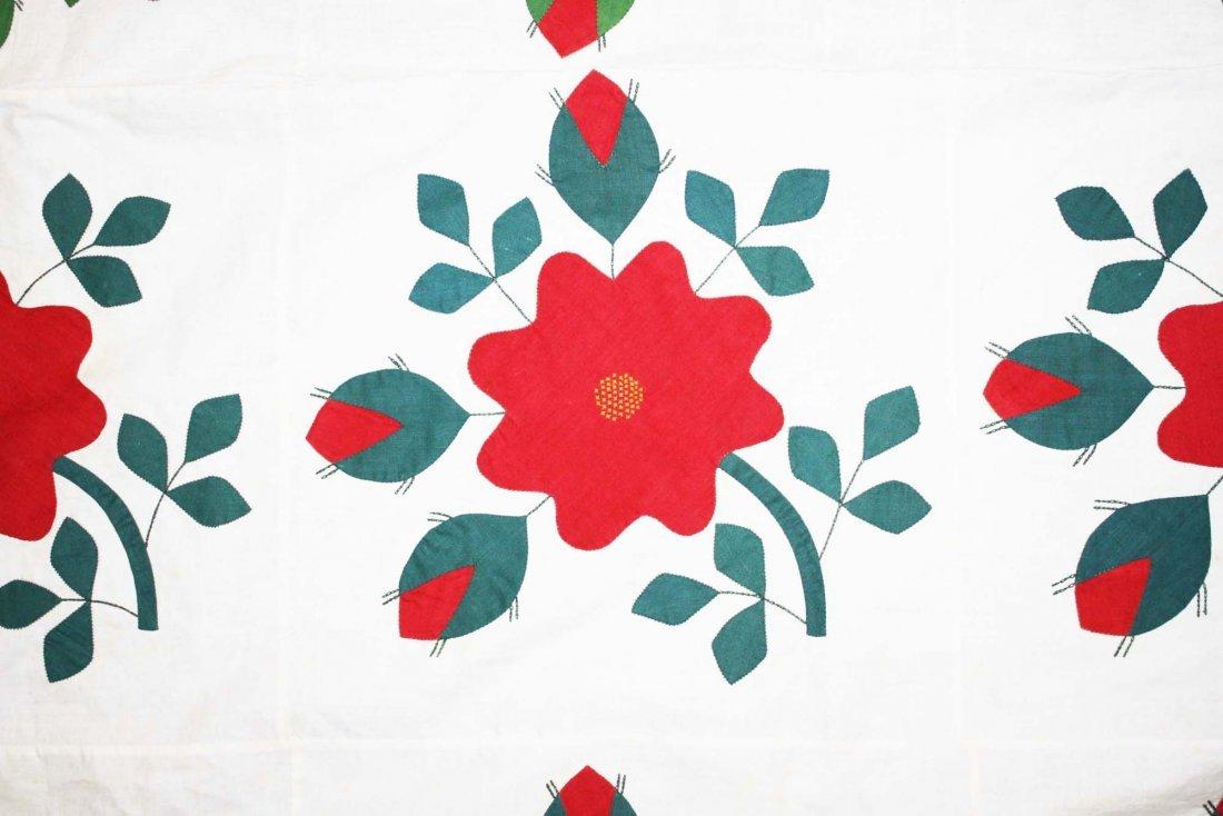 mid 19th c applique quilt top, flower & vine pattern, - 4