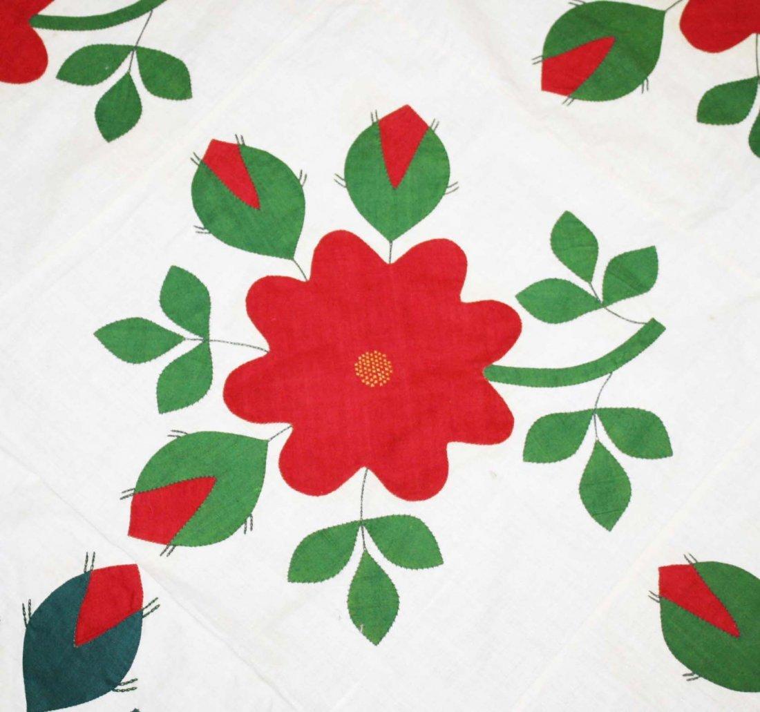 mid 19th c applique quilt top, flower & vine pattern, - 5