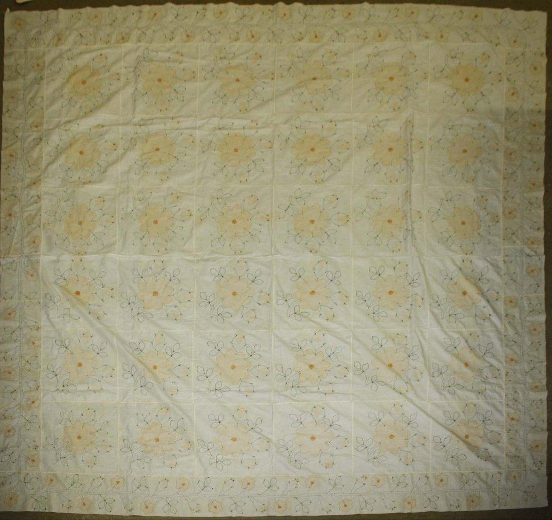 mid 19th c applique quilt top, flower & vine pattern, - 6