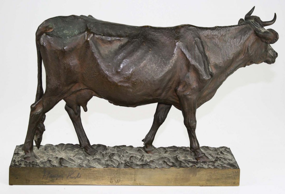 early 20th c bronze sculpture of a cow signed H K K B - 2