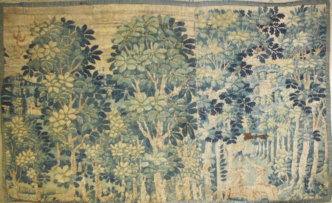 17th c Flemish verdure pieced tapestry fragment with