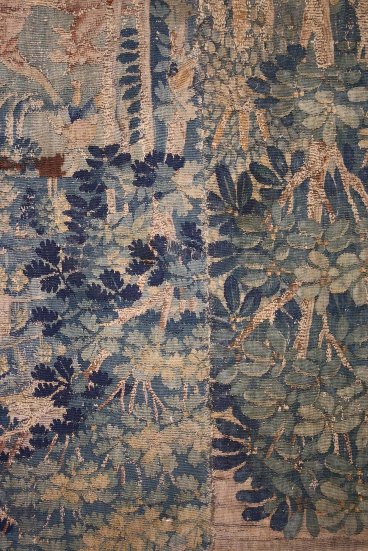 17th c Flemish verdure pieced tapestry fragment with - 2