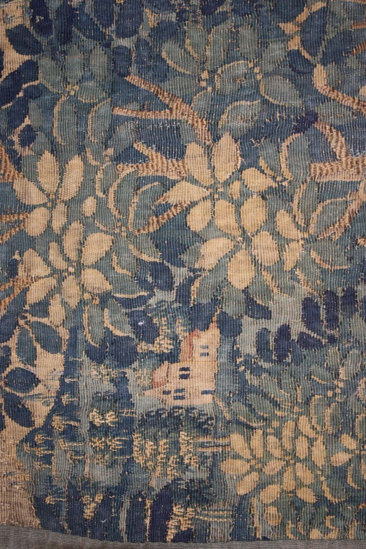 17th c Flemish verdure pieced tapestry fragment with - 3