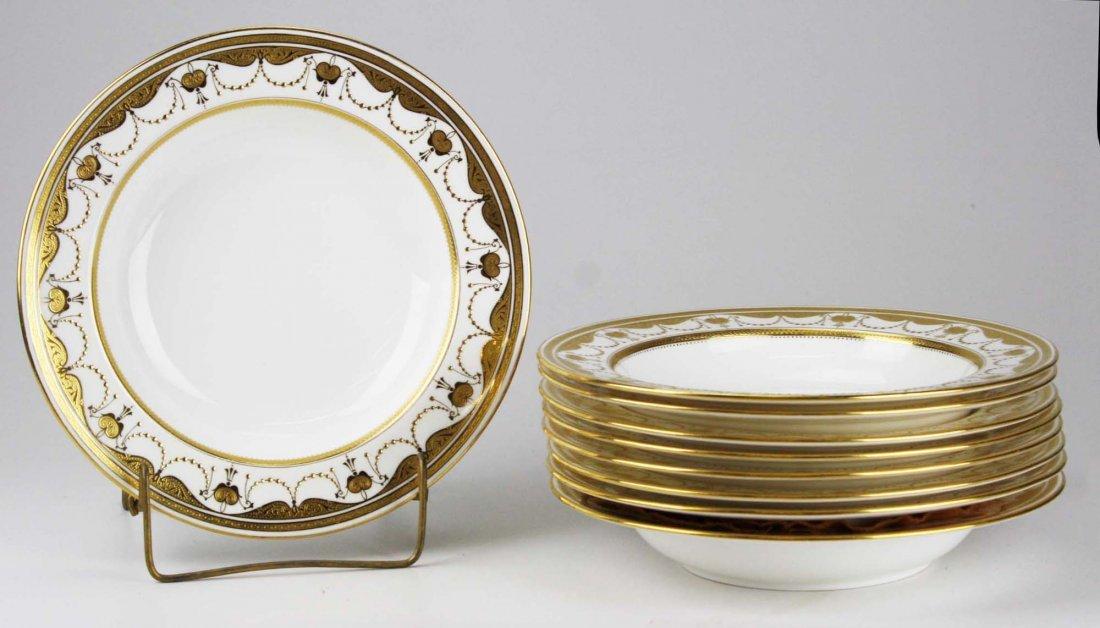 set of 9 Minton embossed and raised gilt enamel