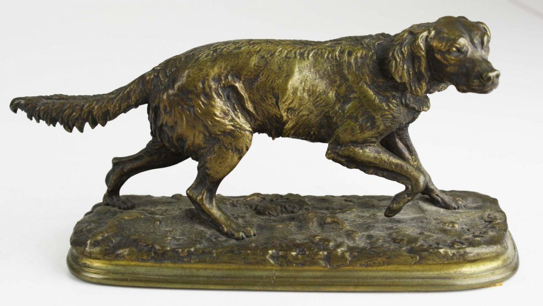late 19th c bronze of a French spaniel signed P J Mene