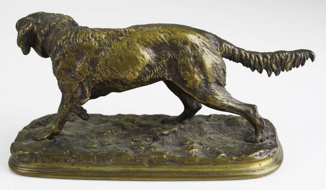 late 19th c bronze of a French spaniel signed P J Mene - 2