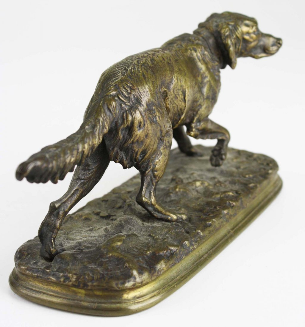 late 19th c bronze of a French spaniel signed P J Mene - 4