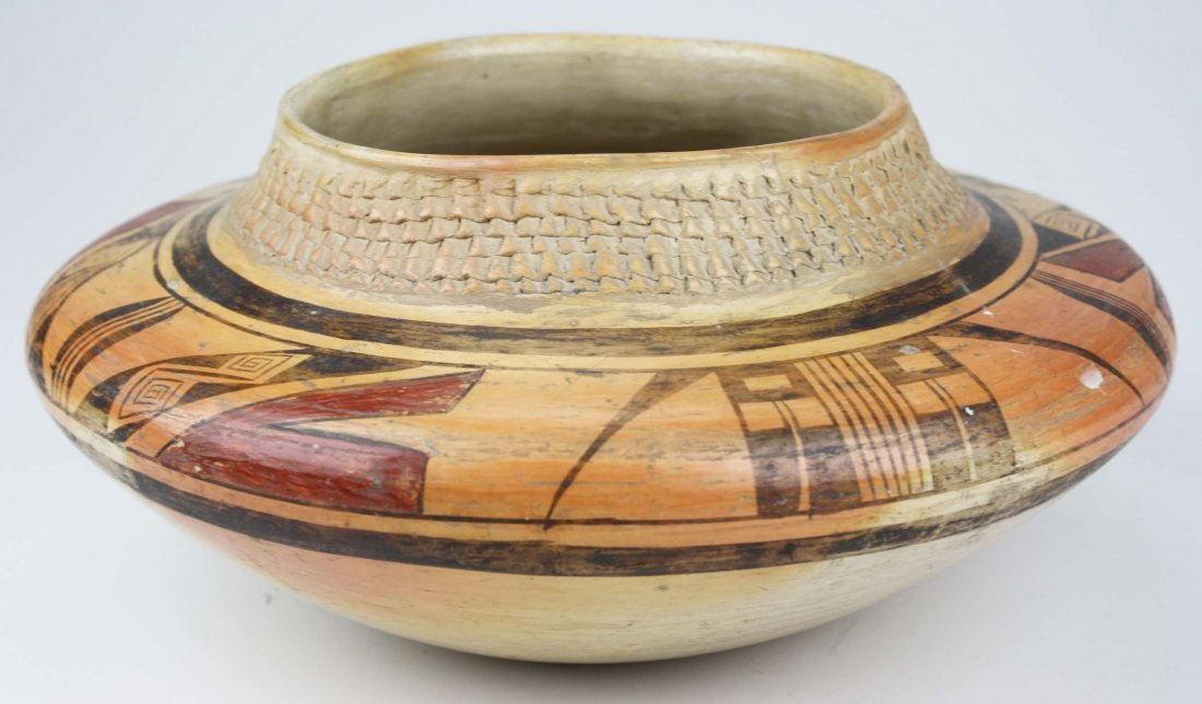 early 20th c Zuni Pueblo three color olla with coiled - 2