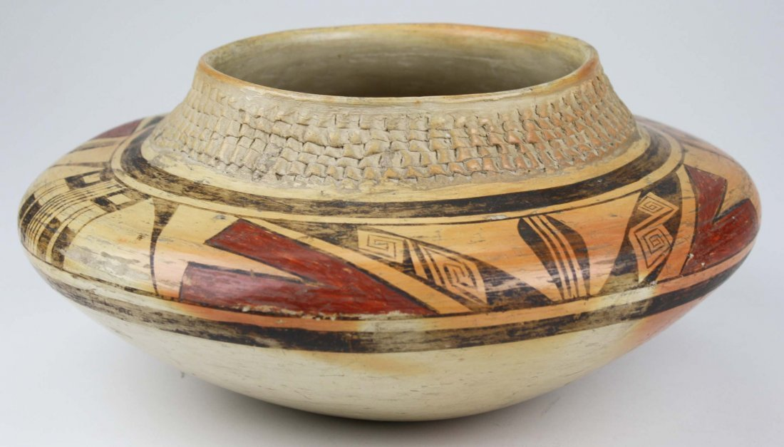 early 20th c Zuni Pueblo three color olla with coiled - 3