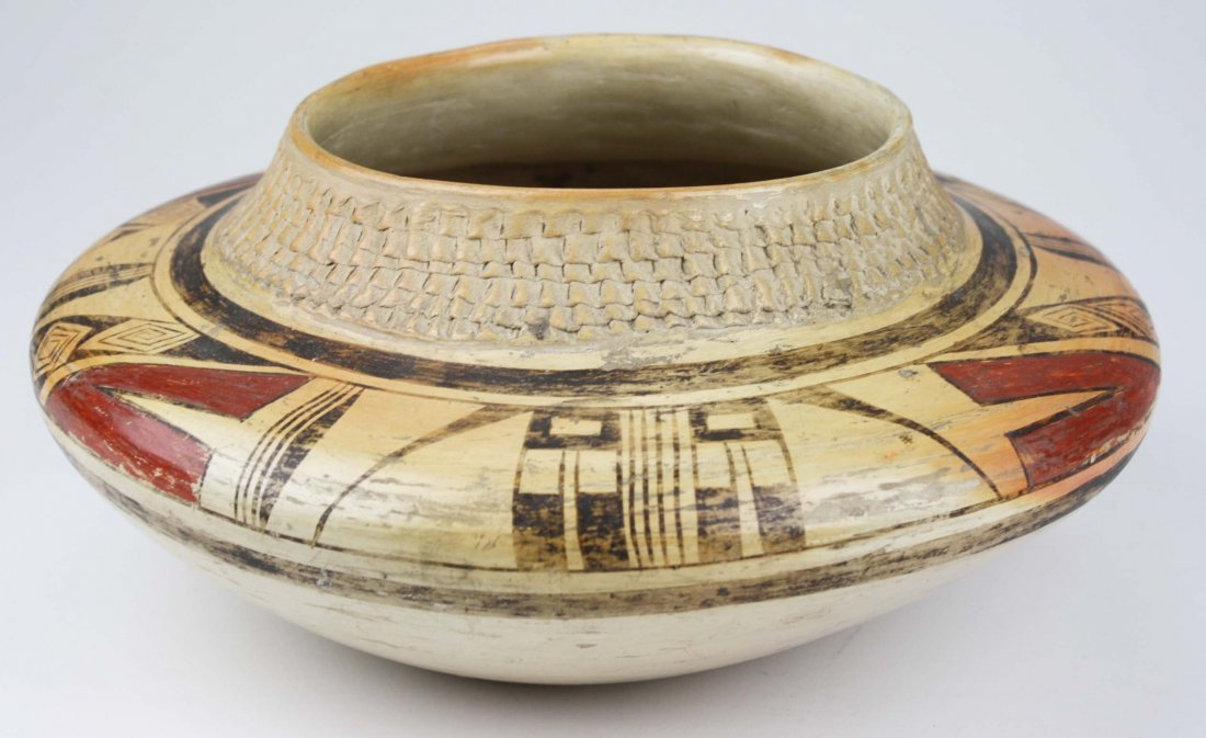 early 20th c Zuni Pueblo three color olla with coiled - 4