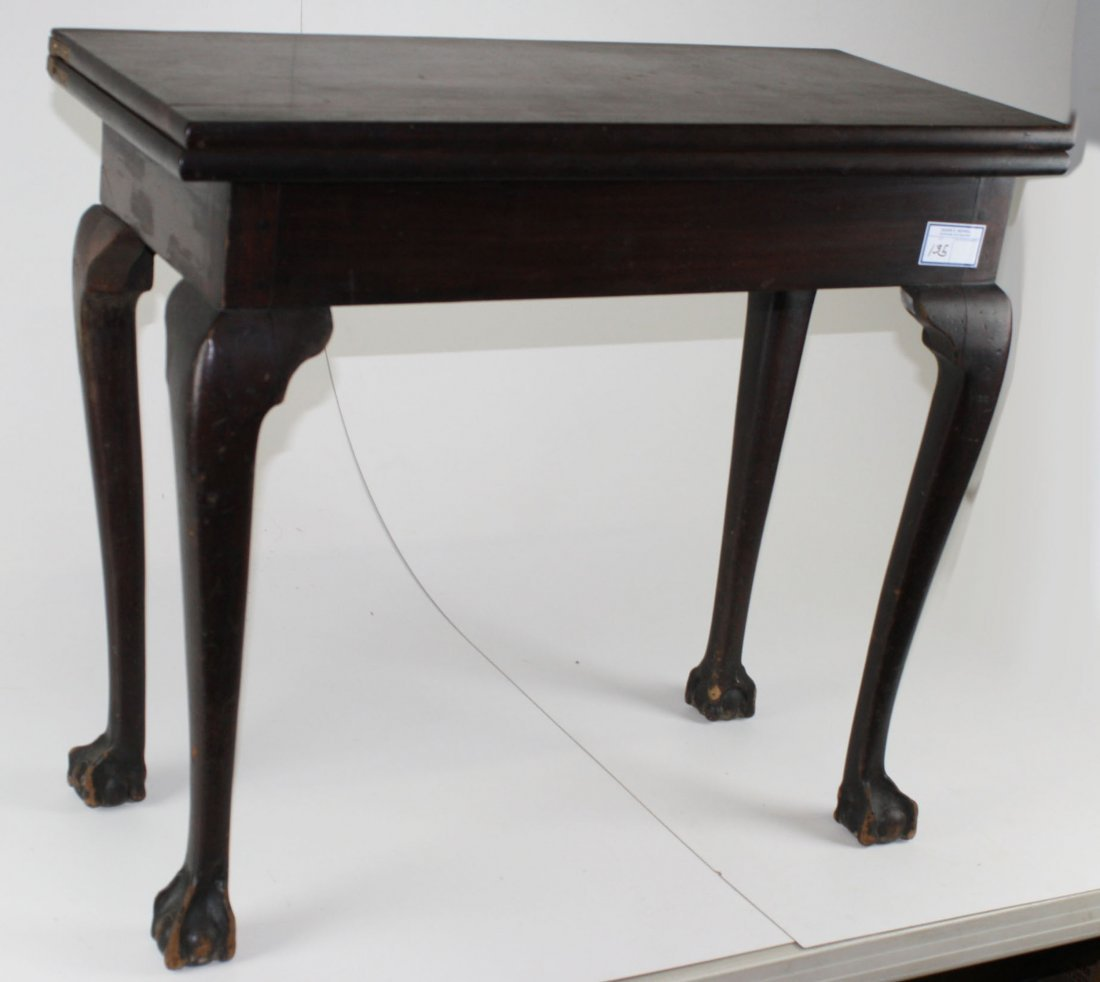 18th c Chippendale mahogany ball and claw foot lift top