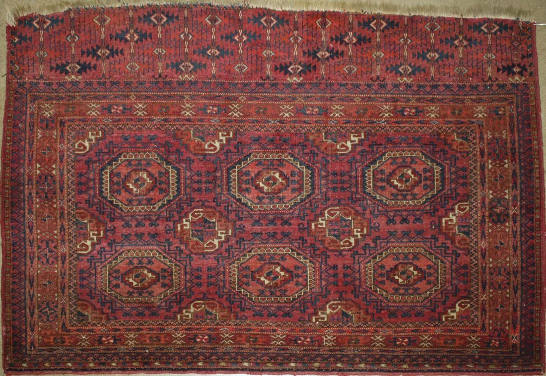 early 20th c Tekke Salor bagface with two rows of three
