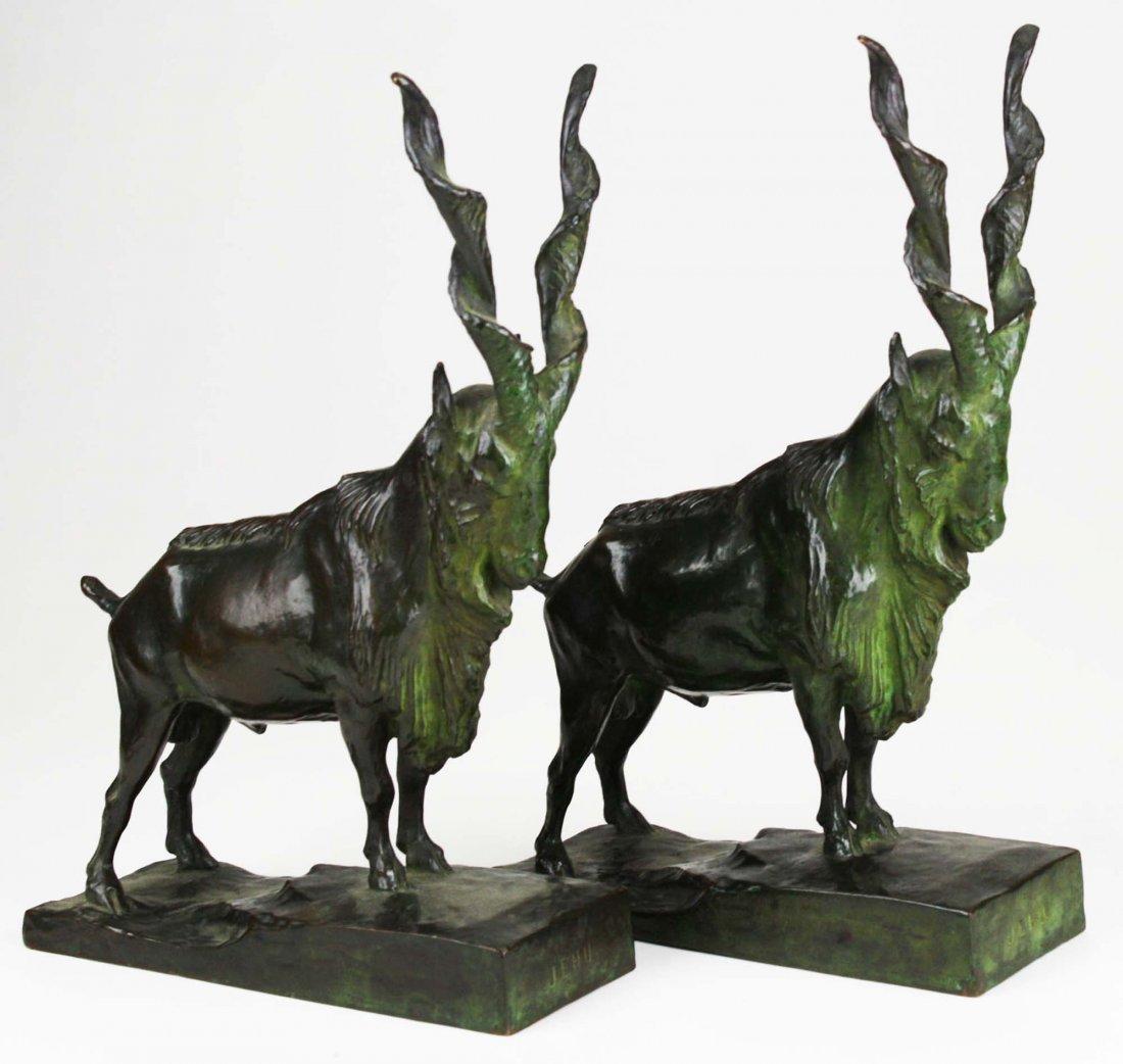 pr of animalier bronze bookends signed JEHU, cast by