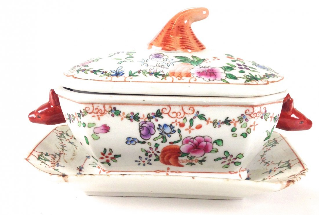 Chinese export porcelain boars head handle tureen with