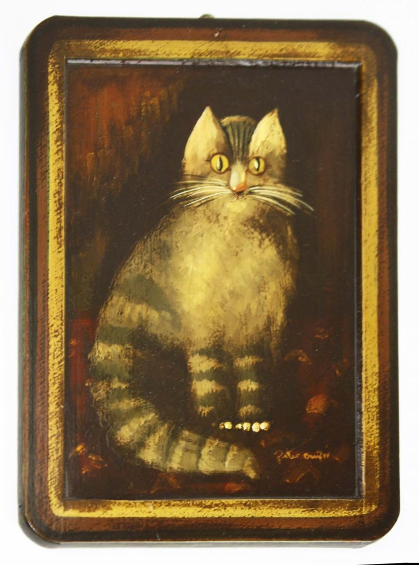 charming Peter Ompir (1904- 1979) painting of a cat on