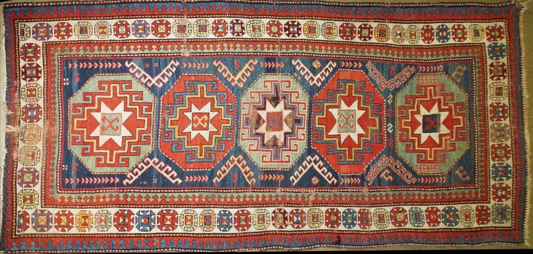 """late 19th c tribal Kazak 5 medallion main carpet, 5' 2"""""""