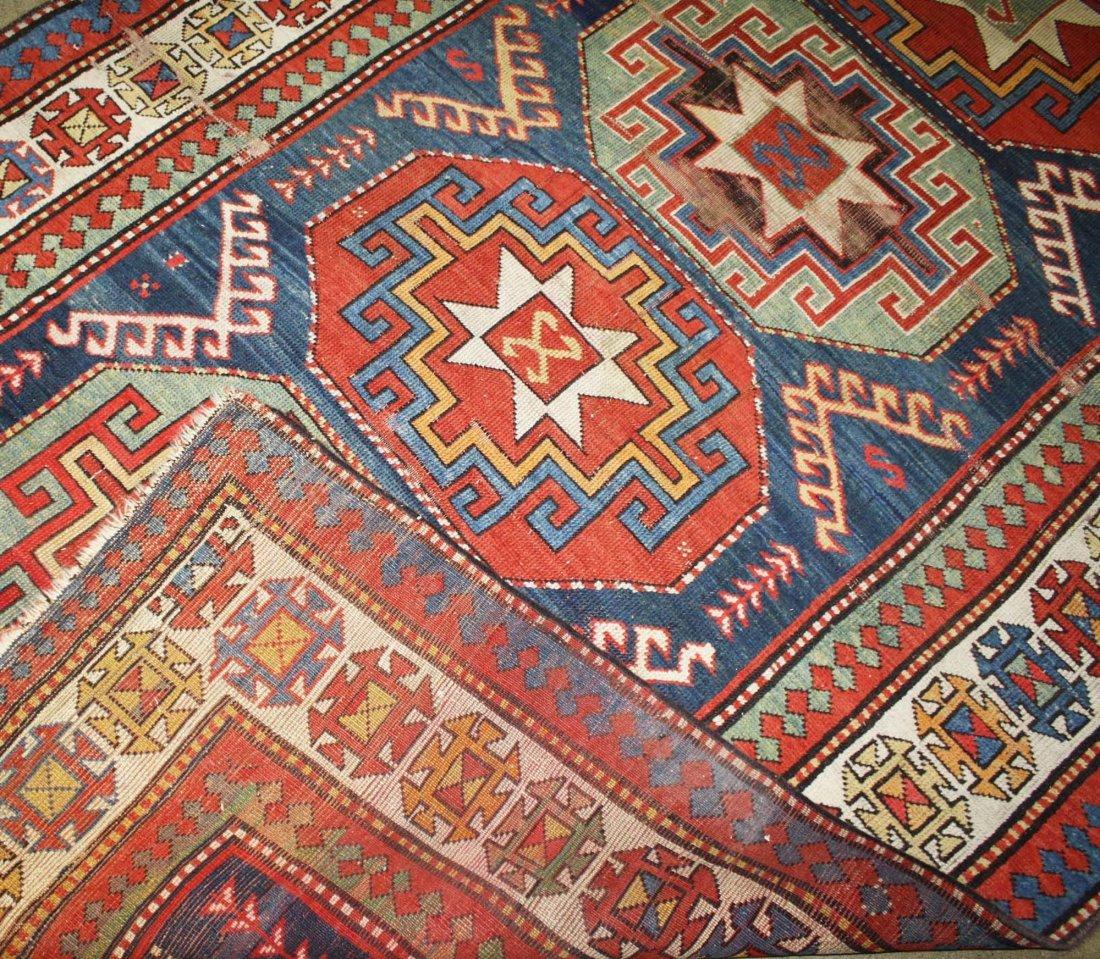 """late 19th c tribal Kazak 5 medallion main carpet, 5' 2"""" - 2"""