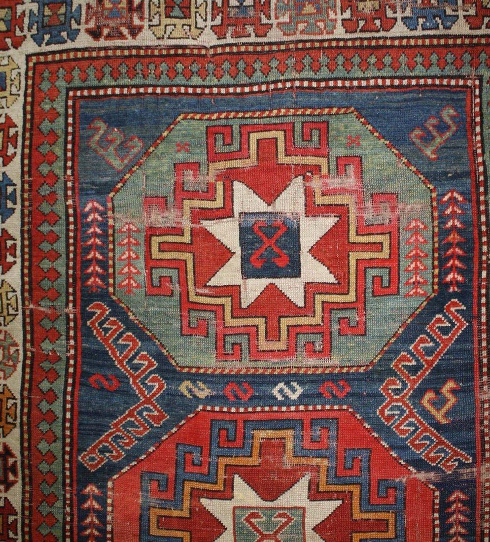 """late 19th c tribal Kazak 5 medallion main carpet, 5' 2"""" - 3"""