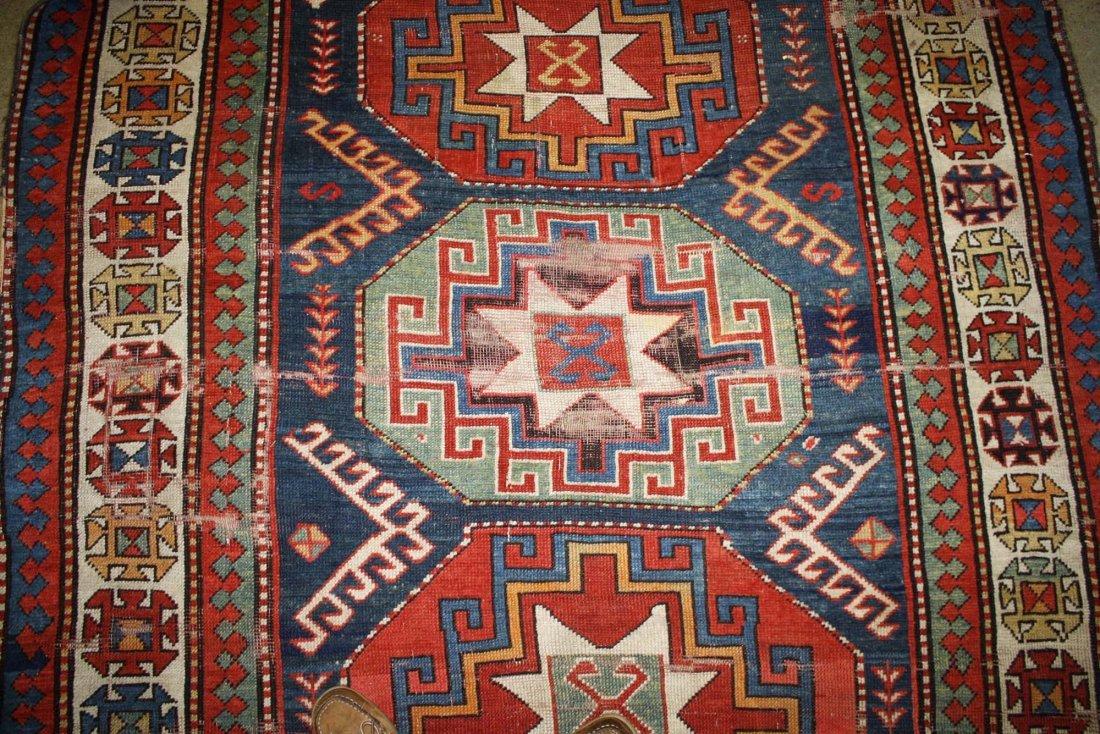 """late 19th c tribal Kazak 5 medallion main carpet, 5' 2"""" - 4"""